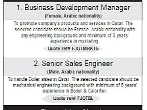 1. Business Development Manager  2. Senior Sales Engineer