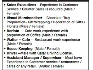 Required • Sales Executives  • Visual Merchandiser  • Barista • Waiter – Cafe • House Keeping (