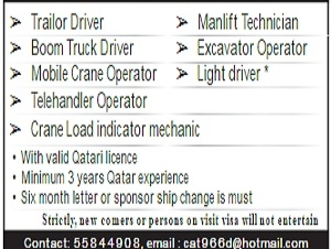 URGENTLY  required Trailor Driver➢Boom Truck Driver➢Mobile Crane Operator➢Telehandler Operator➢Manlift Technician➢Excavator Operator➢Light driver *➢Crane Load indicator mechanic
