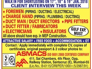 Required FoREMAN ,CHARGE HAND,DUCT MAN,DUCT ERECTION,PIPE FITTERS,FABRICATORS,INSULATORS,ELECTRICIANS