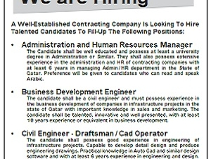 We are Hiring •    Administration and Human Resources Manager  Business Development Engineer   Civil Engineer - Draftsman/Cad Operator