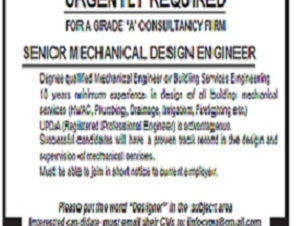 URGENTLY REQUIRED FOR A GRADE 'A' CONSULTANCY FIRM SENIOR MECHANICAL DESIGN ENGINEER